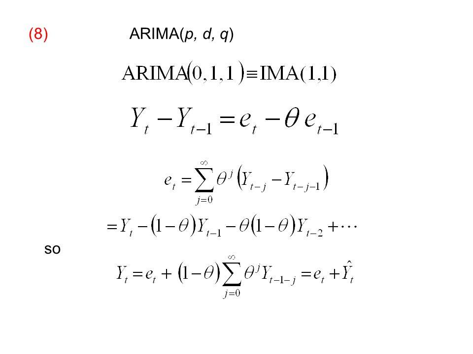 (8) ARIMA(p, d, q) so