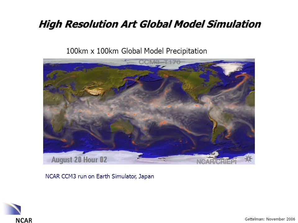 Gettelman: November 2006 High Resolution Art Global Model Simulation 100km x 100km Global Model Precipitation NCAR CCM3 run on Earth Simulator, Japan