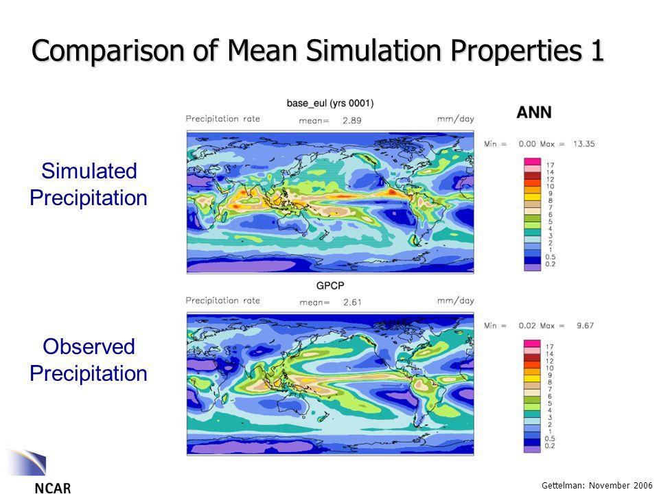 Gettelman: November 2006 Comparison of Mean Simulation Properties 1 Observed Precipitation Simulated Precipitation