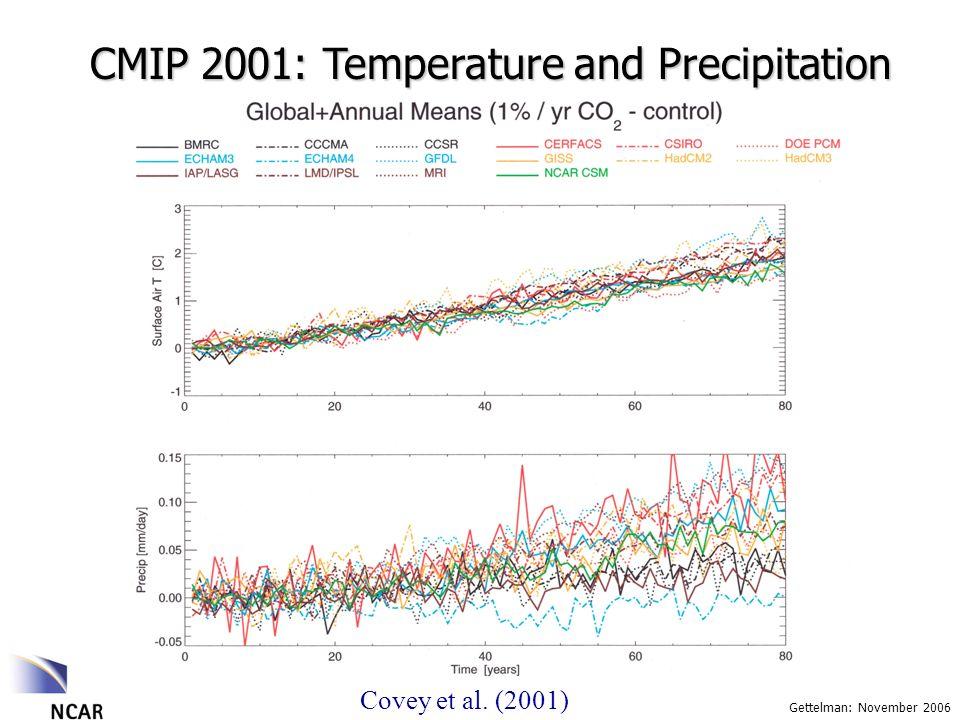 Gettelman: November 2006 CMIP 2001: Temperature and Precipitation Covey et al. (2001)