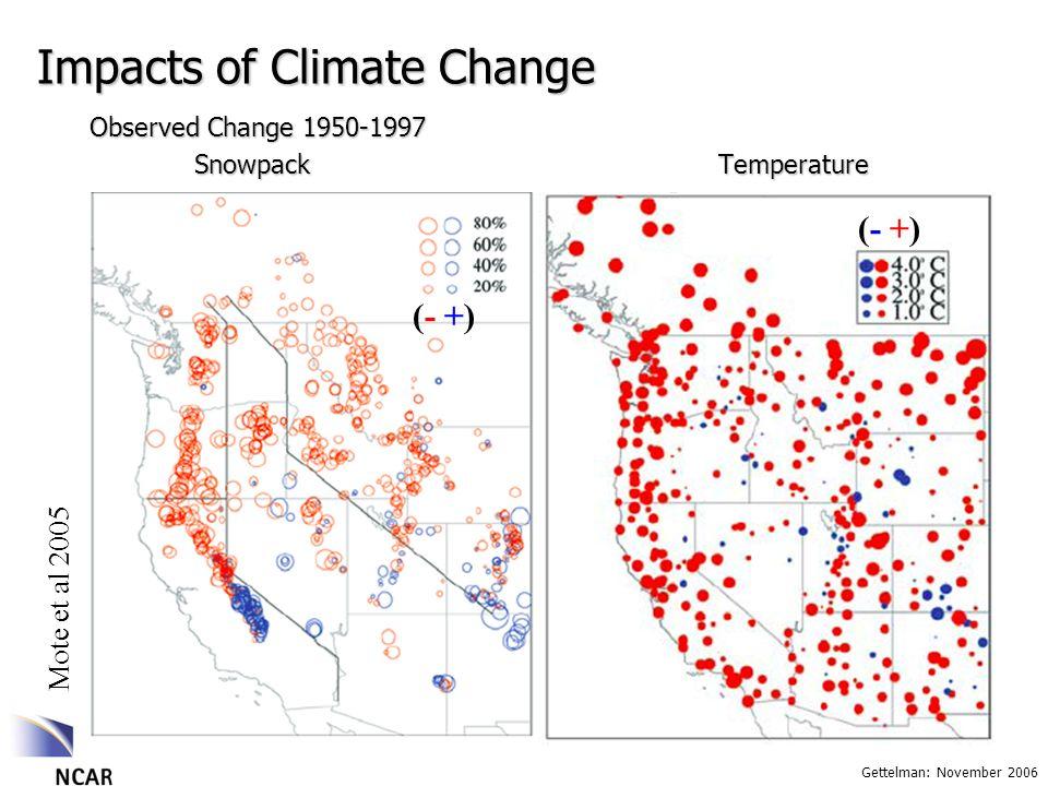 Gettelman: November 2006 Impacts of Climate Change Mote et al 2005 Observed Change 1950-1997 SnowpackTemperature (- +)(- +) (- +)