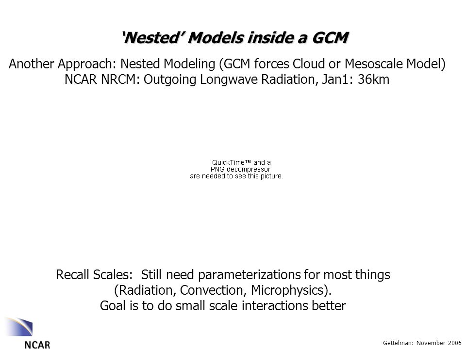 Gettelman: November 2006 Nested Models inside a GCM Another Approach: Nested Modeling (GCM forces Cloud or Mesoscale Model) NCAR NRCM: Outgoing Longwave Radiation, Jan1: 36km Recall Scales: Still need parameterizations for most things (Radiation, Convection, Microphysics).