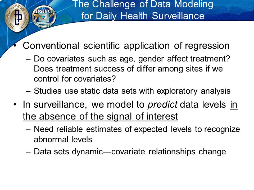 The Challenge of Data Modeling for Daily Health Surveillance Conventional scientific application of regression –Do covariates such as age, gender affe