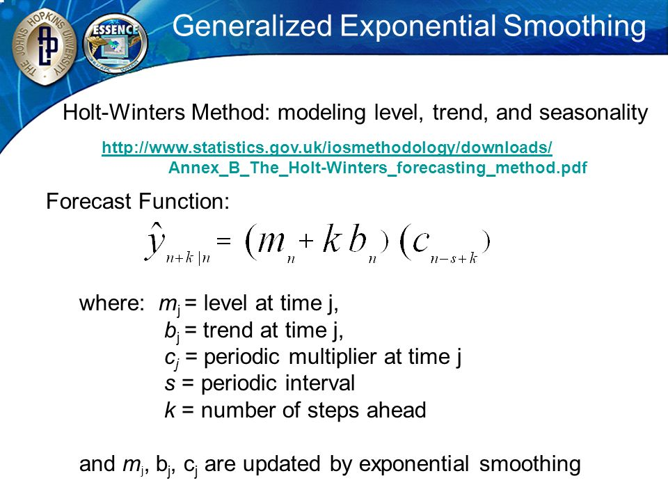 Generalized Exponential Smoothing Forecast Function: where: m j = level at time j, b j = trend at time j, c j = periodic multiplier at time j s = peri