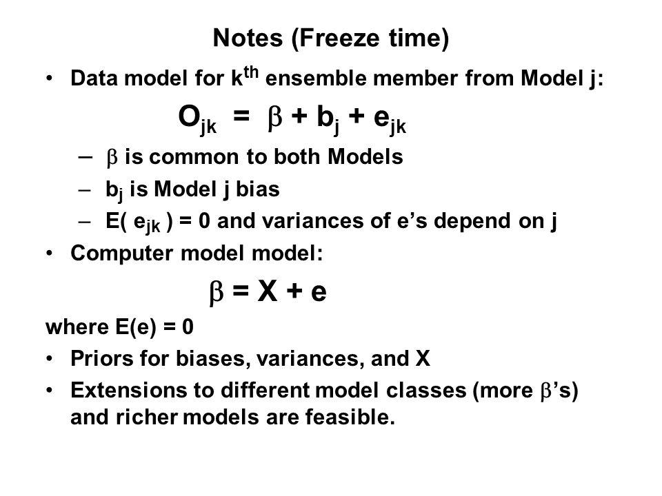 Notes (Freeze time) Data model for k th ensemble member from Model j: O jk = + b j + e jk – is common to both Models – b j is Model j bias – E( e jk )