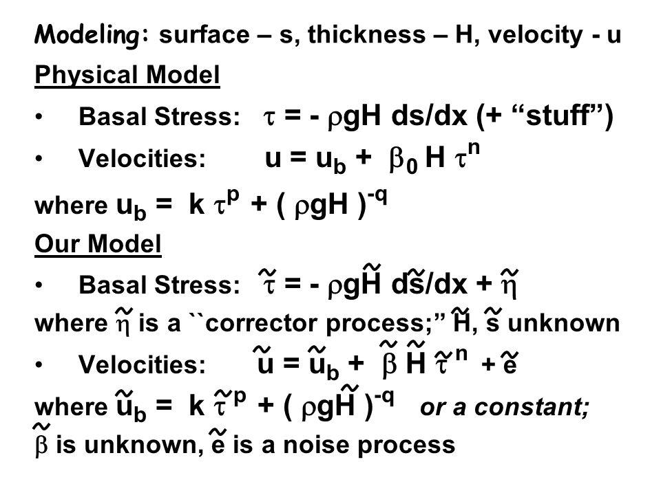 Modeling: surface – s, thickness – H, velocity - u Physical Model Basal Stress: = - gH ds/dx (+ stuff) Velocities: u = u b + 0 H n where u b = k p + (