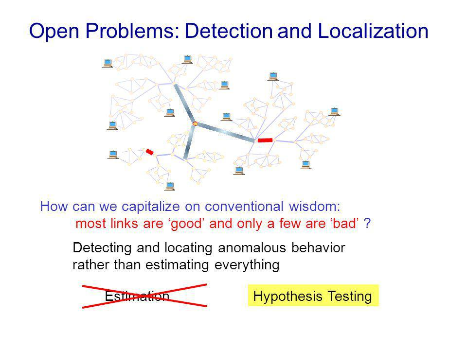Open Problems: Detection and Localization Detecting and locating anomalous behavior rather than estimating everything EstimationHypothesis Testing How can we capitalize on conventional wisdom: most links are good and only a few are bad ?