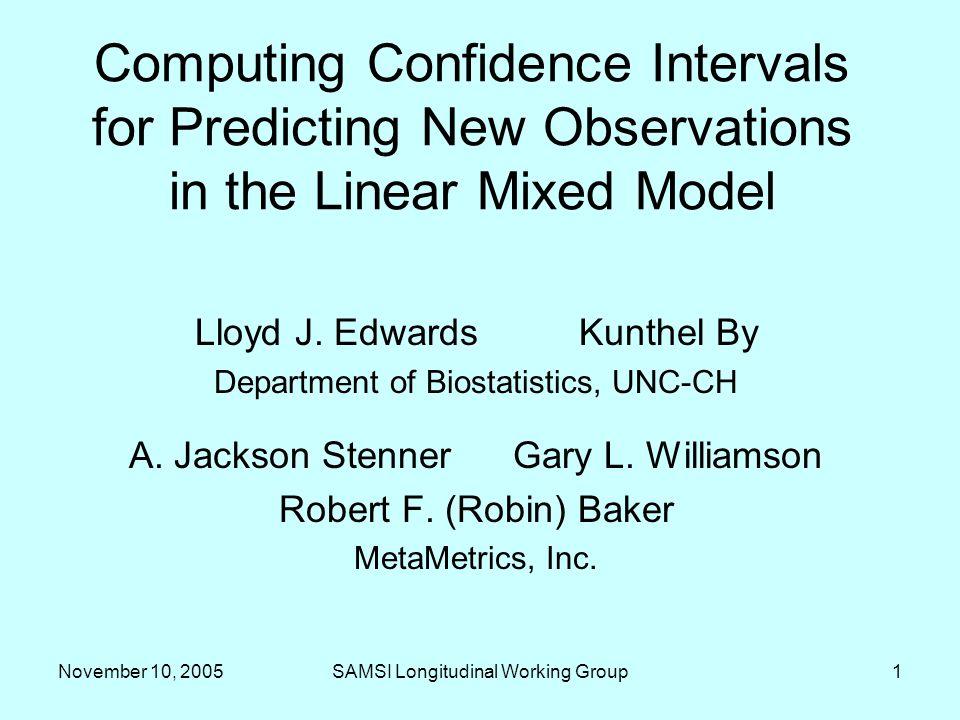November 10, 2005SAMSI Longitudinal Working Group12 Further Research Assumption of i.i.d.