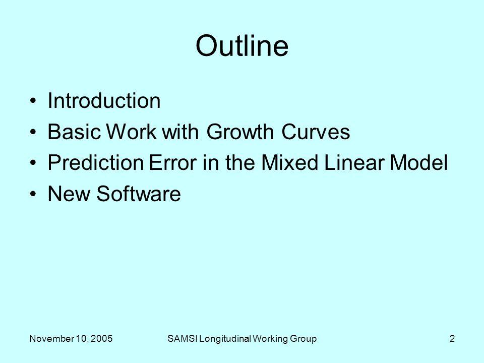 November 10, 2005SAMSI Longitudinal Working Group3 Introduction MetaMetrics perspective –Unification of measurement –Characterization of measurement error –Life-span developmental approach –Fitting models to data vs.