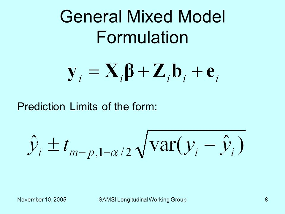 November 10, 2005SAMSI Longitudinal Working Group9 Characterizing prediction error Distinctions –Simple linear case versus –Mixed Model analog versus
