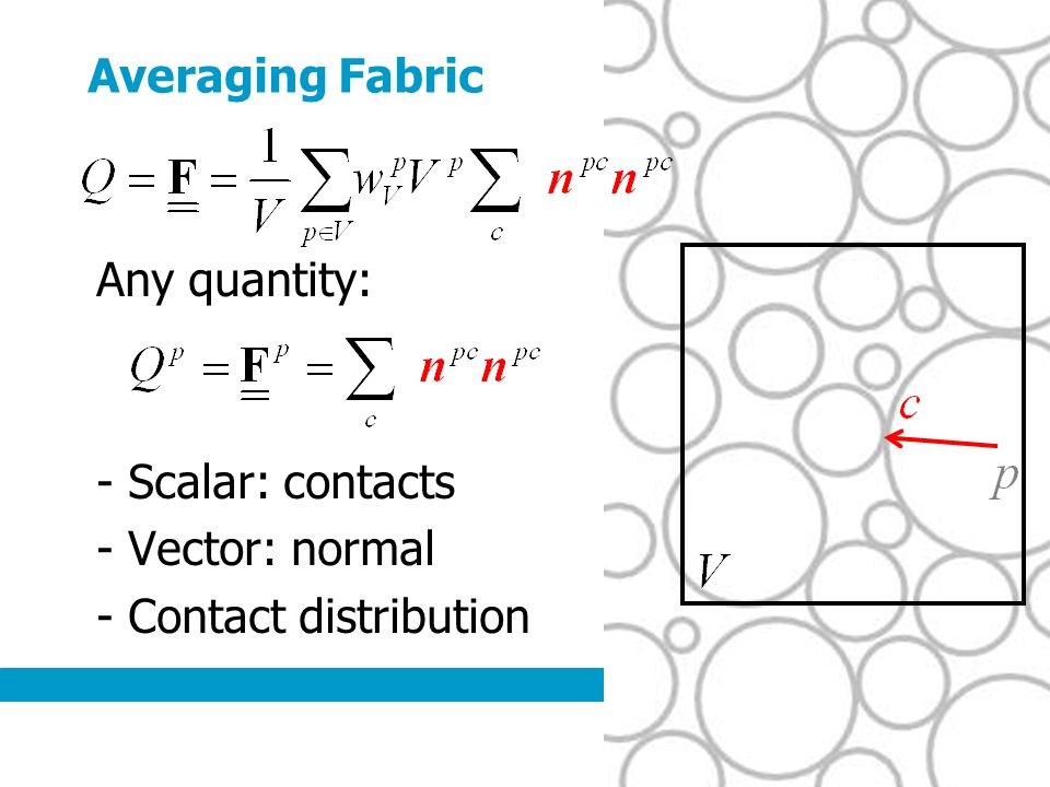 Averaging Fabric Any quantity: - Scalar: contacts - Vector: normal - Contact distribution