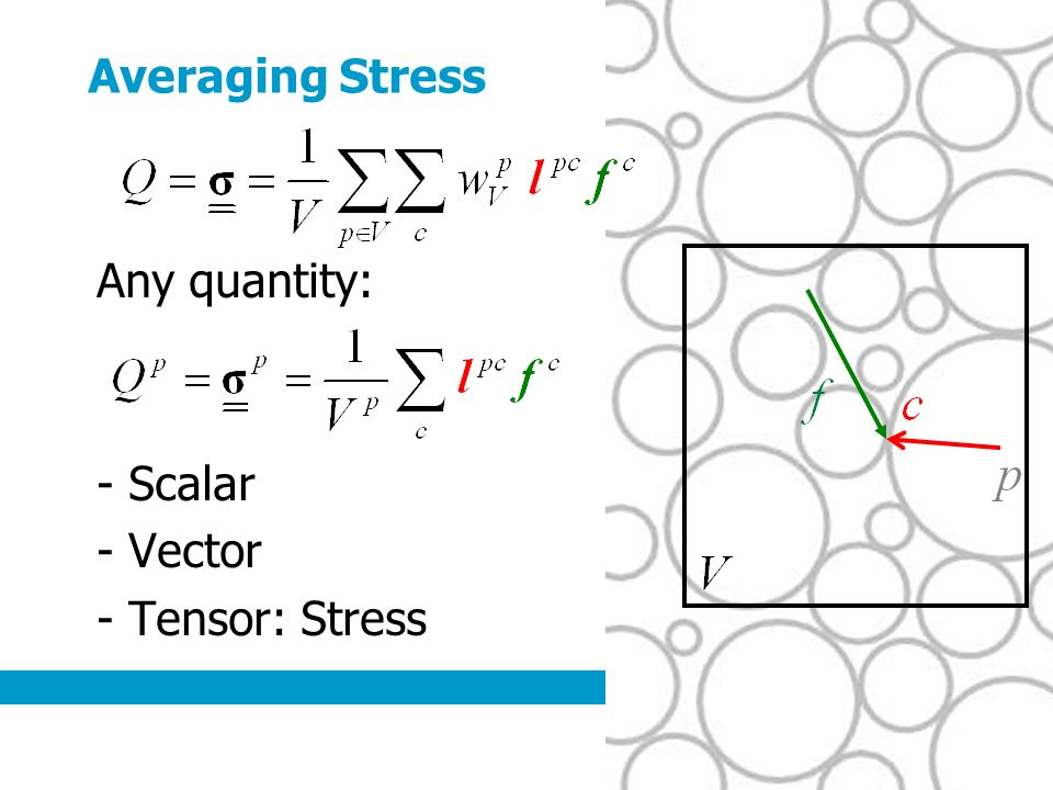 Averaging Stress Any quantity: - Scalar - Vector - Tensor: Stress