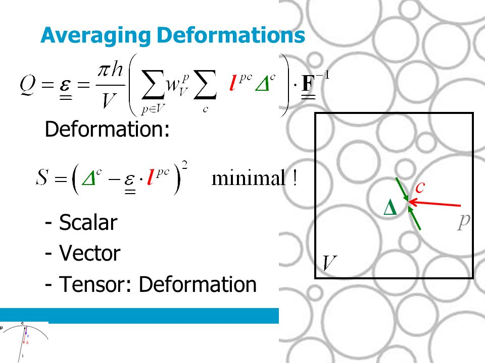 Averaging Deformations Deformation: - Scalar - Vector - Tensor: Deformation