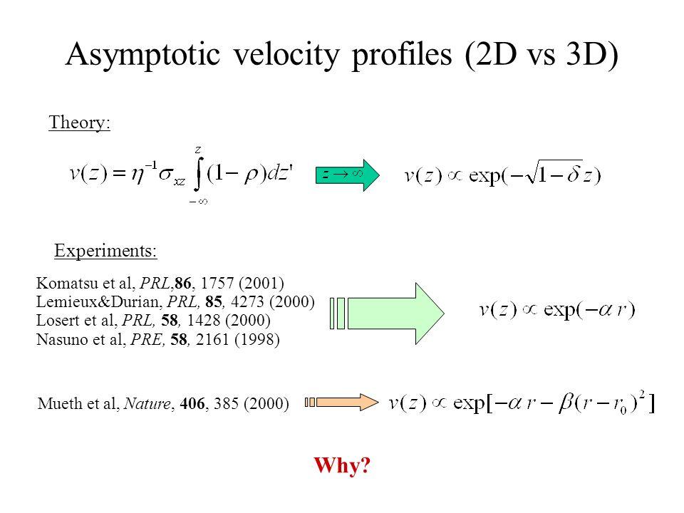 Asymptotic velocity profiles (2D vs 3D) Why.