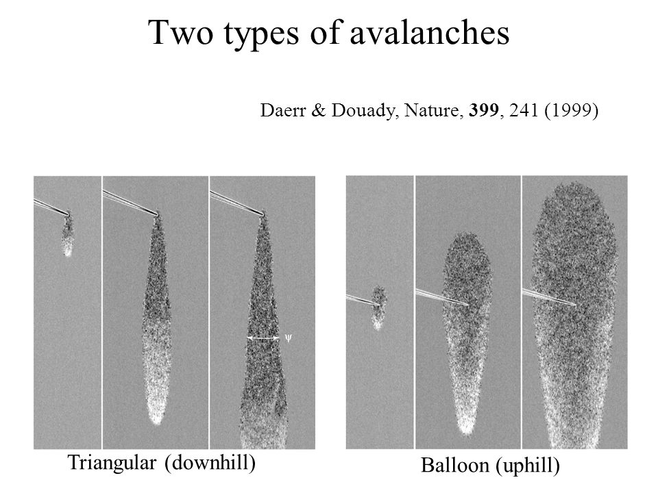 Two types of avalanches Triangular (downhill) Balloon (uphill) Daerr & Douady, Nature, 399, 241 (1999)