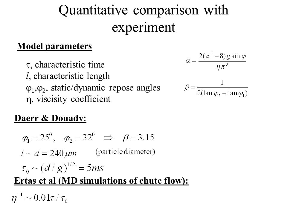 Quantitative comparison with experiment Model parameters, characteristic time l, characteristic length 1, 2, static/dynamic repose angles viscisity coefficient Daerr & Douady: (particle diameter) Ertas et al (MD simulations of chute flow):