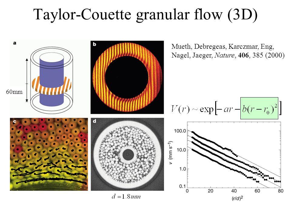 Taylor-Couette granular flow (3D) Mueth, Debregeas, Karczmar, Eng, Nagel, Jaeger, Nature, 406, 385 (2000) 60mm