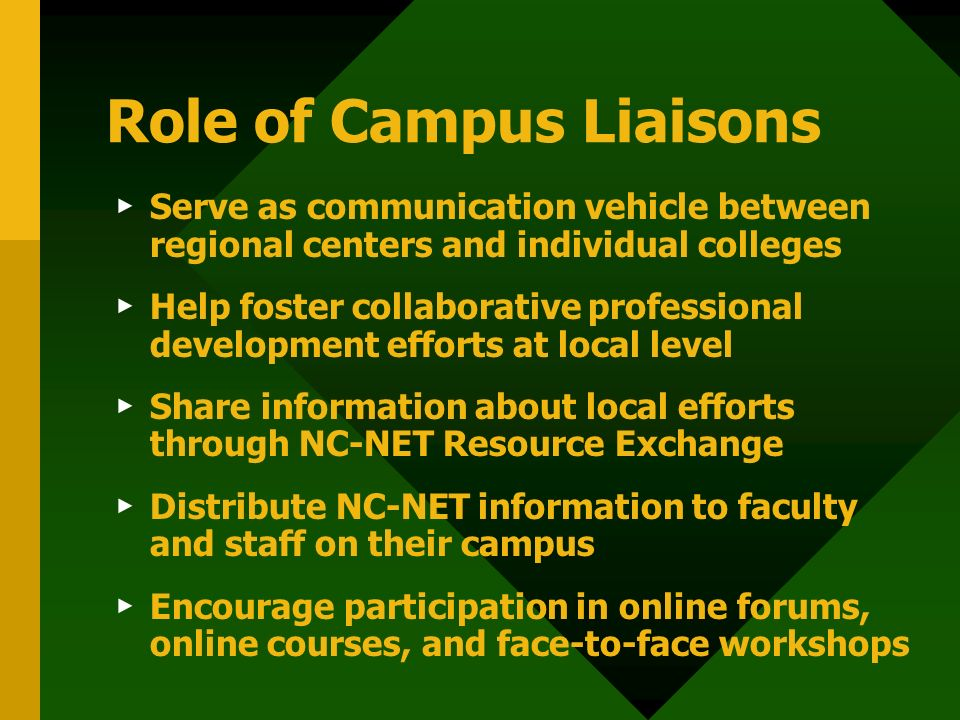 Role of Campus Liaisons Serve as communication vehicle between regional centers and individual colleges Help foster collaborative professional development efforts at local level Share information about local efforts through NC-NET Resource Exchange Distribute NC-NET information to faculty and staff on their campus Encourage participation in online forums, online courses, and face-to-face workshops