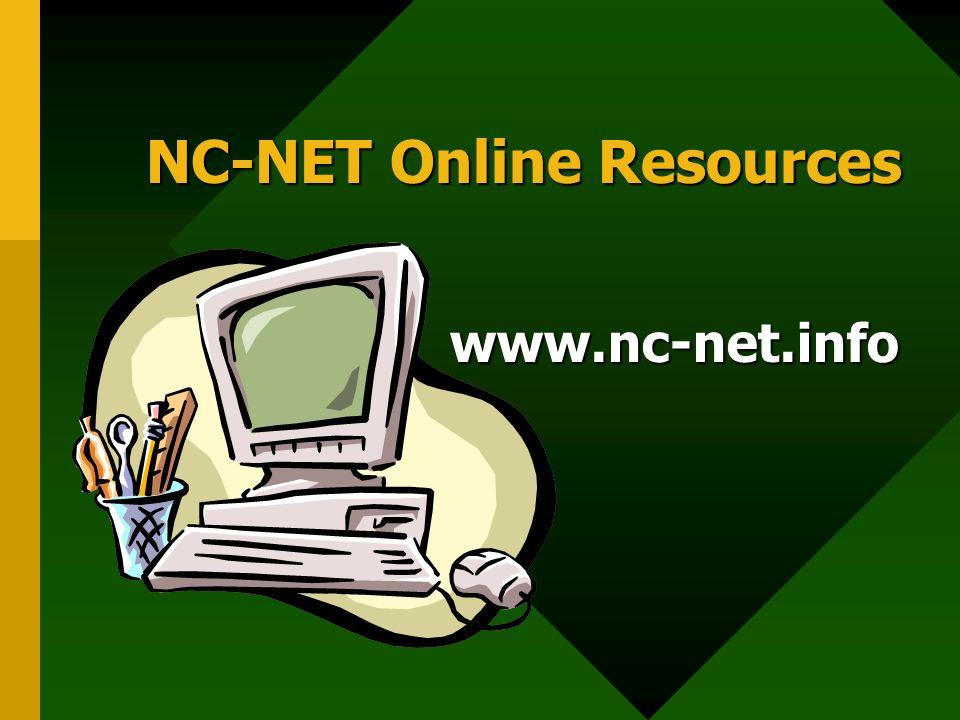 NC-NET Online Resources www.nc-net.info