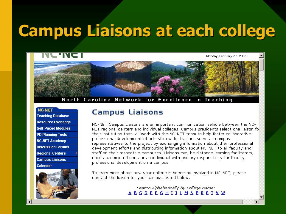 Campus Liaisons at each college