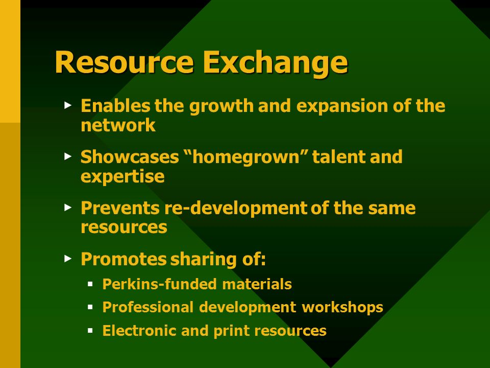 Resource Exchange Enables the growth and expansion of the network Showcases homegrown talent and expertise Prevents re-development of the same resources Promotes sharing of: Perkins-funded materials Professional development workshops Electronic and print resources