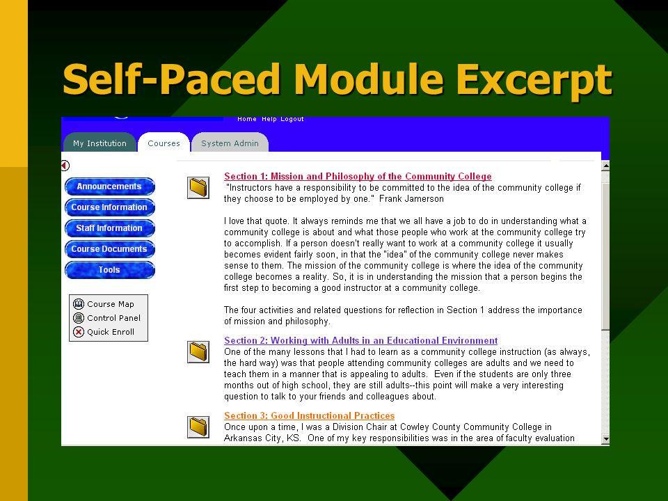 Self-Paced Module Excerpt