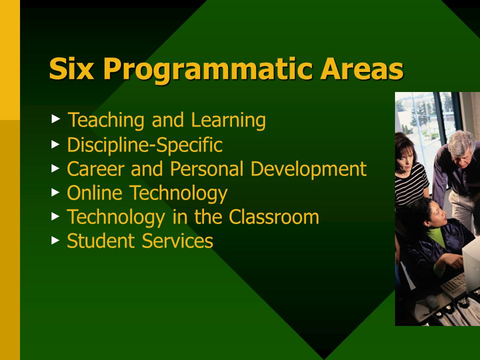 Six Programmatic Areas Teaching and Learning Discipline-Specific Career and Personal Development Online Technology Technology in the Classroom Student Services