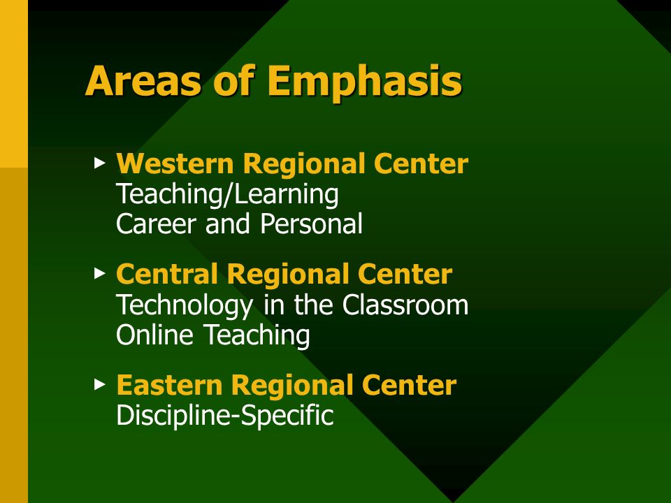 Areas of Emphasis Western Regional Center Teaching/Learning Career and Personal Central Regional Center Technology in the Classroom Online Teaching Eastern Regional Center Discipline-Specific