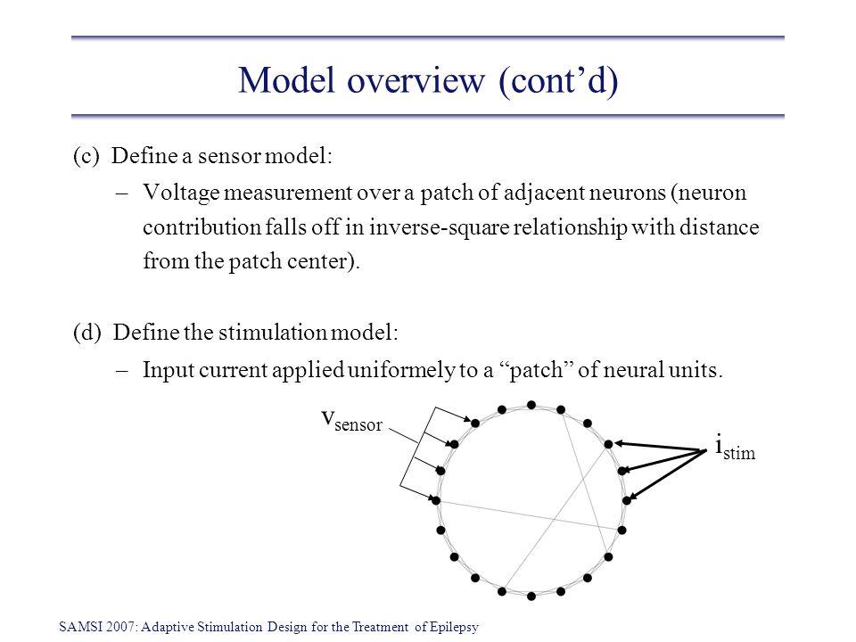 SAMSI 2007: Adaptive Stimulation Design for the Treatment of Epilepsy Model overview (contd) (c) Define a sensor model: –Voltage measurement over a pa