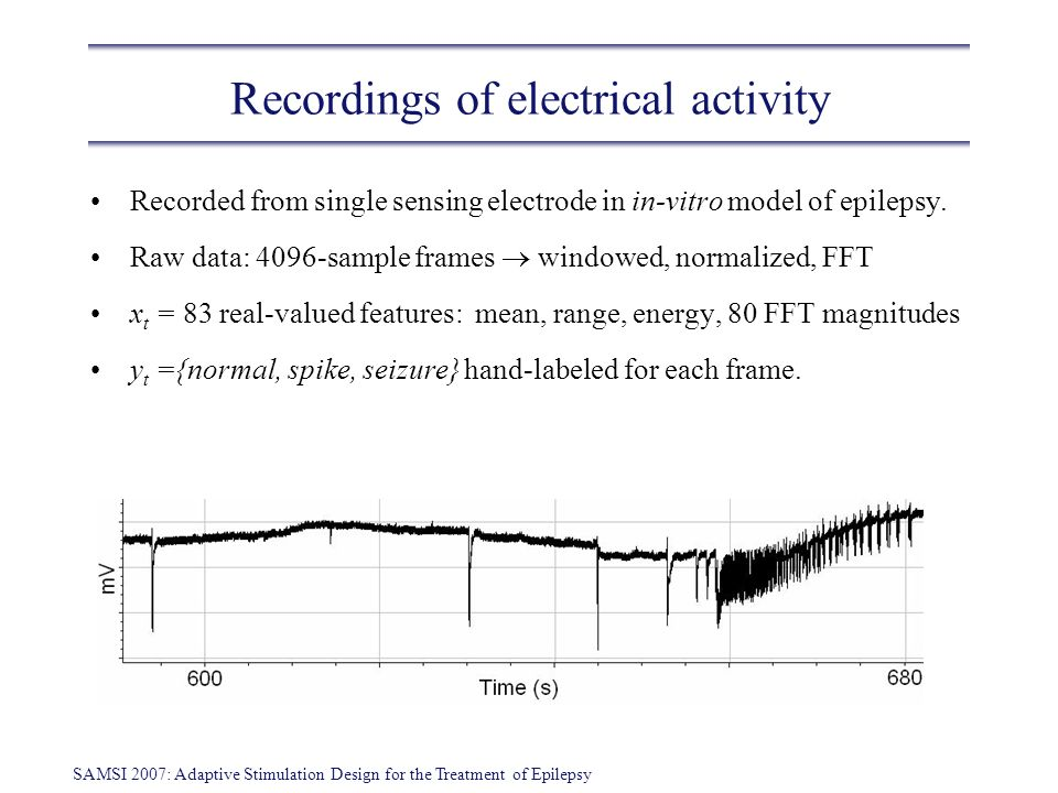 SAMSI 2007: Adaptive Stimulation Design for the Treatment of Epilepsy Seizure detection Long literature on seizure detection using supervised learning (e.g.