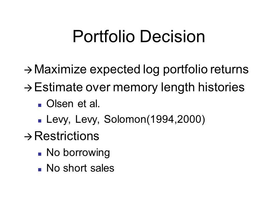 Portfolio Decision Maximize expected log portfolio returns Estimate over memory length histories Olsen et al.