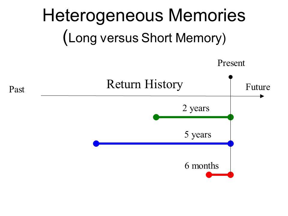 Heterogeneous Memories ( Long versus Short Memory) Return History 2 years 5 years 6 months Past Future Present