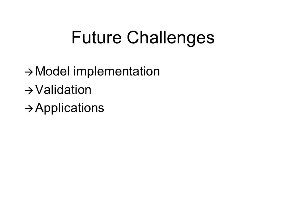 Future Challenges Model implementation Validation Applications