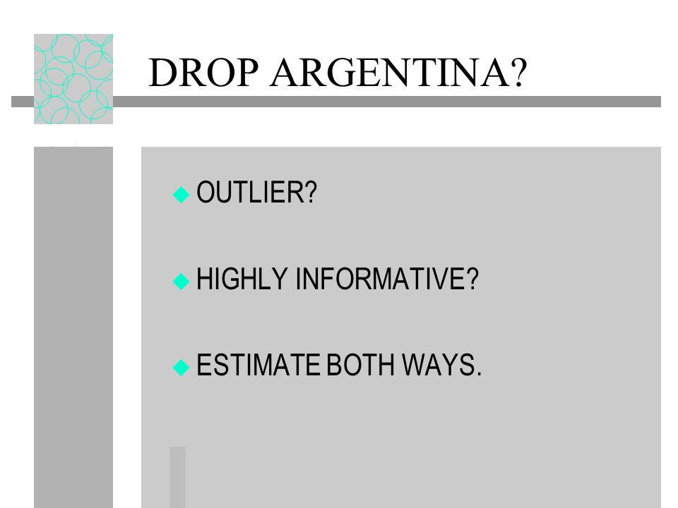 DROP ARGENTINA? OUTLIER? HIGHLY INFORMATIVE? ESTIMATE BOTH WAYS.