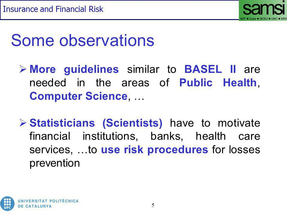 Insurance and Financial Risk 5 Some observations More guidelines similar to BASEL II are needed in the areas of Public Health, Computer Science, … Statisticians (Scientists) have to motivate financial institutions, banks, health care services, …to use risk procedures for losses prevention