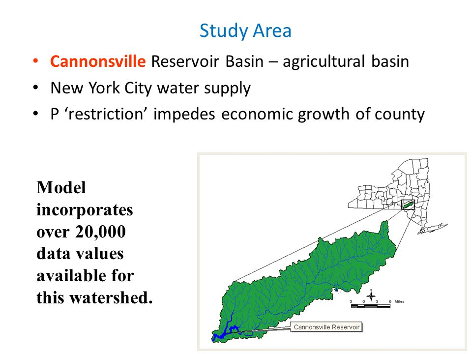 7 Study Area Cannonsville Reservoir Basin – agricultural basin New York City water supply P restriction impedes economic growth of county Model incorp