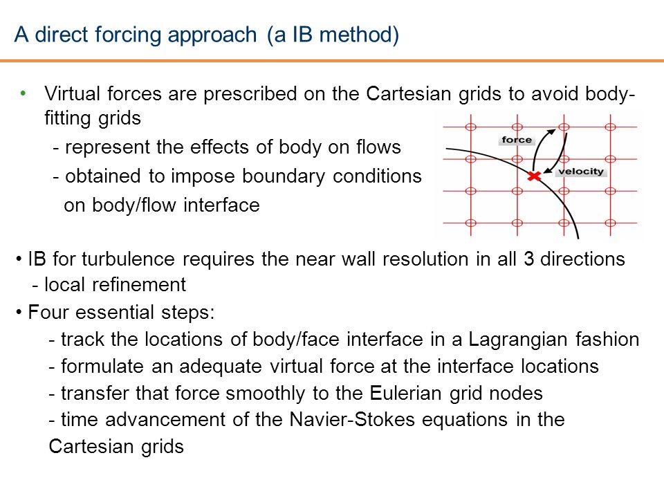 A direct forcing approach (a IB method) Virtual forces are prescribed on the Cartesian grids to avoid body- fitting grids - represent the effects of b