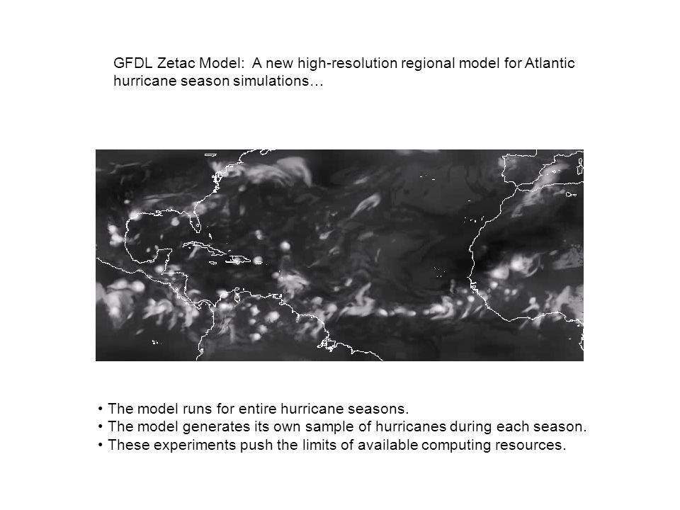 GFDL Zetac Model: A new high-resolution regional model for Atlantic hurricane season simulations… The model runs for entire hurricane seasons. The mod
