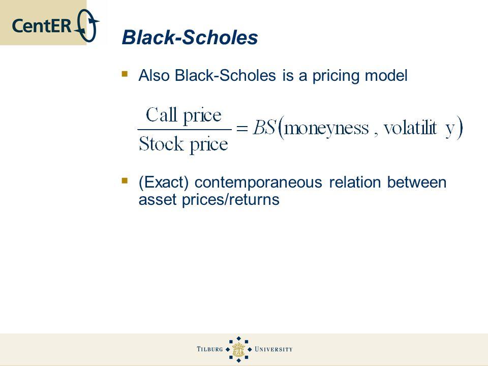 Black-Scholes Also Black-Scholes is a pricing model (Exact) contemporaneous relation between asset prices/returns