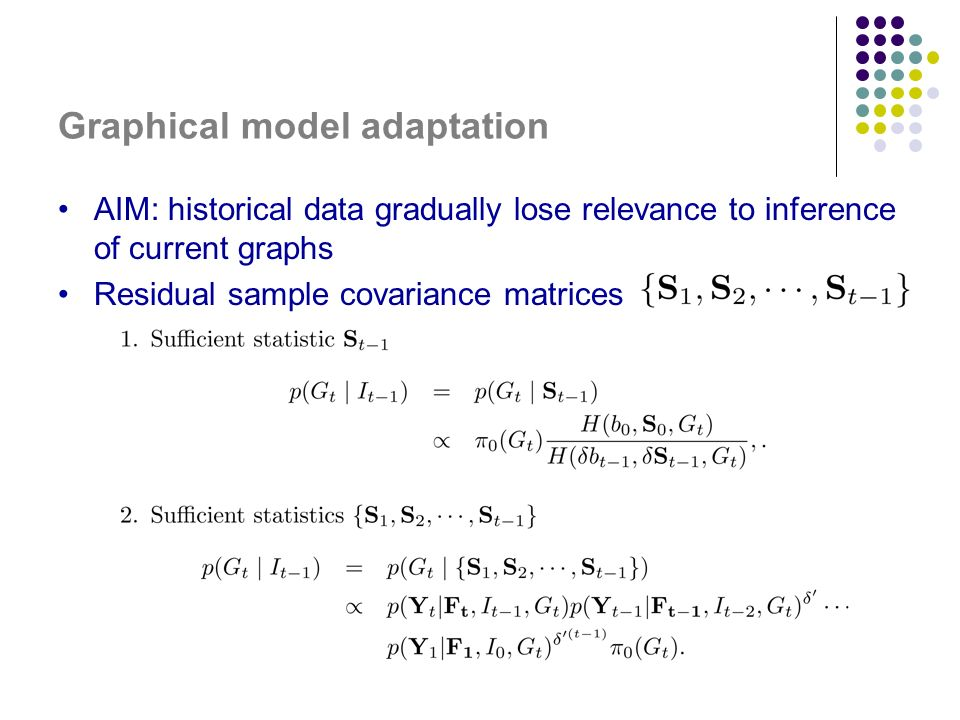 Graphical model adaptation AIM: historical data gradually lose relevance to inference of current graphs Residual sample covariance matrices
