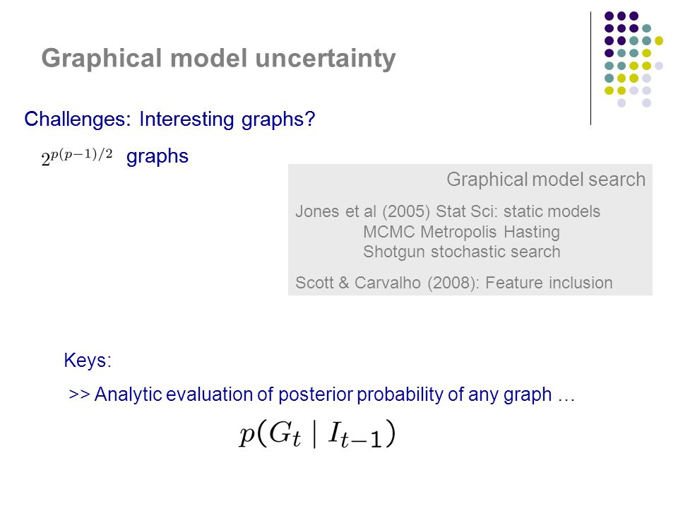 Graphical model uncertainty Challenges: Interesting graphs.