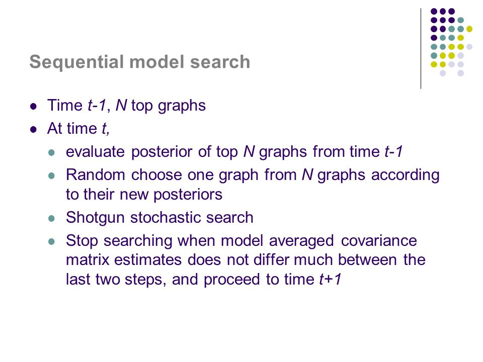 Sequential model search Time t-1, N top graphs At time t, evaluate posterior of top N graphs from time t-1 Random choose one graph from N graphs according to their new posteriors Shotgun stochastic search Stop searching when model averaged covariance matrix estimates does not differ much between the last two steps, and proceed to time t+1