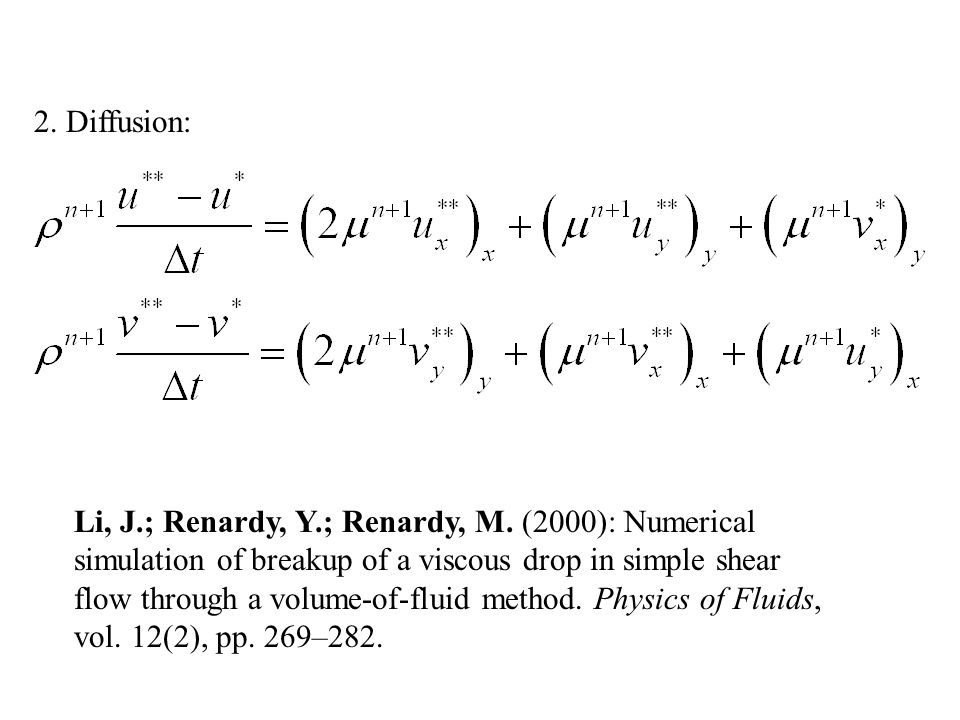 2. Diffusion: Li, J.; Renardy, Y.; Renardy, M. (2000): Numerical simulation of breakup of a viscous drop in simple shear flow through a volume-of-flui