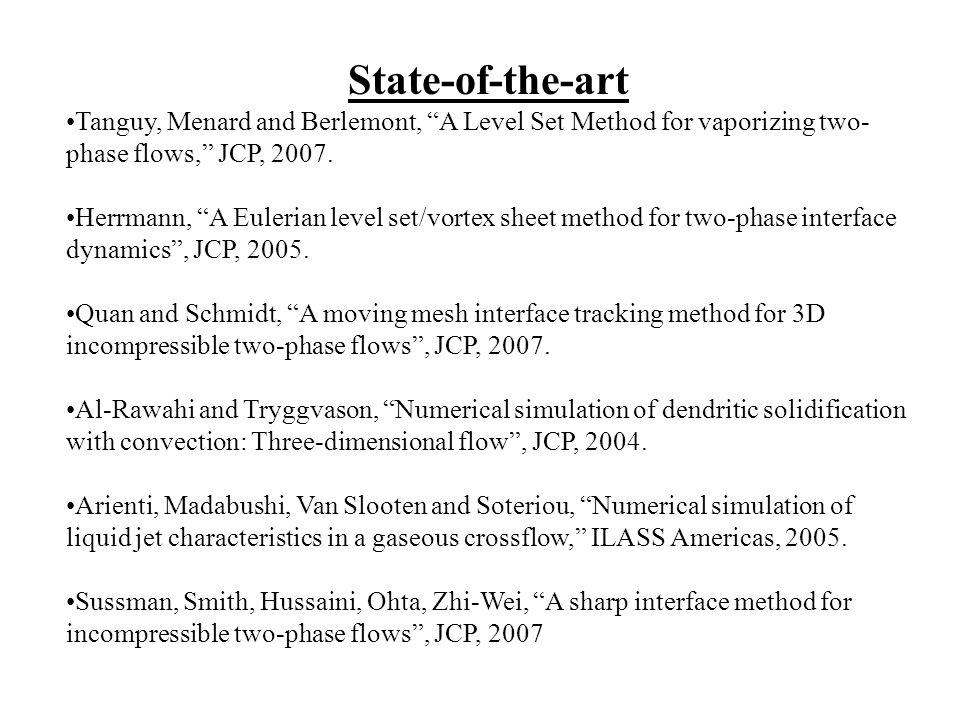 State-of-the-art Tanguy, Menard and Berlemont, A Level Set Method for vaporizing two- phase flows, JCP, 2007. Herrmann, A Eulerian level set/vortex sh