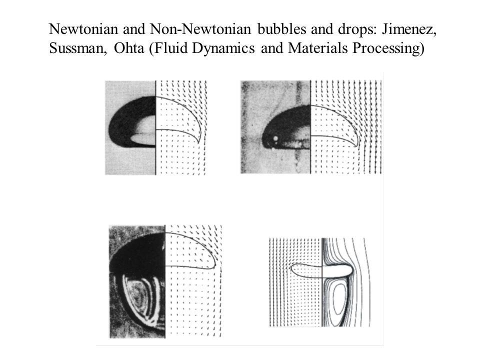 Newtonian and Non-Newtonian bubbles and drops: Jimenez, Sussman, Ohta (Fluid Dynamics and Materials Processing)