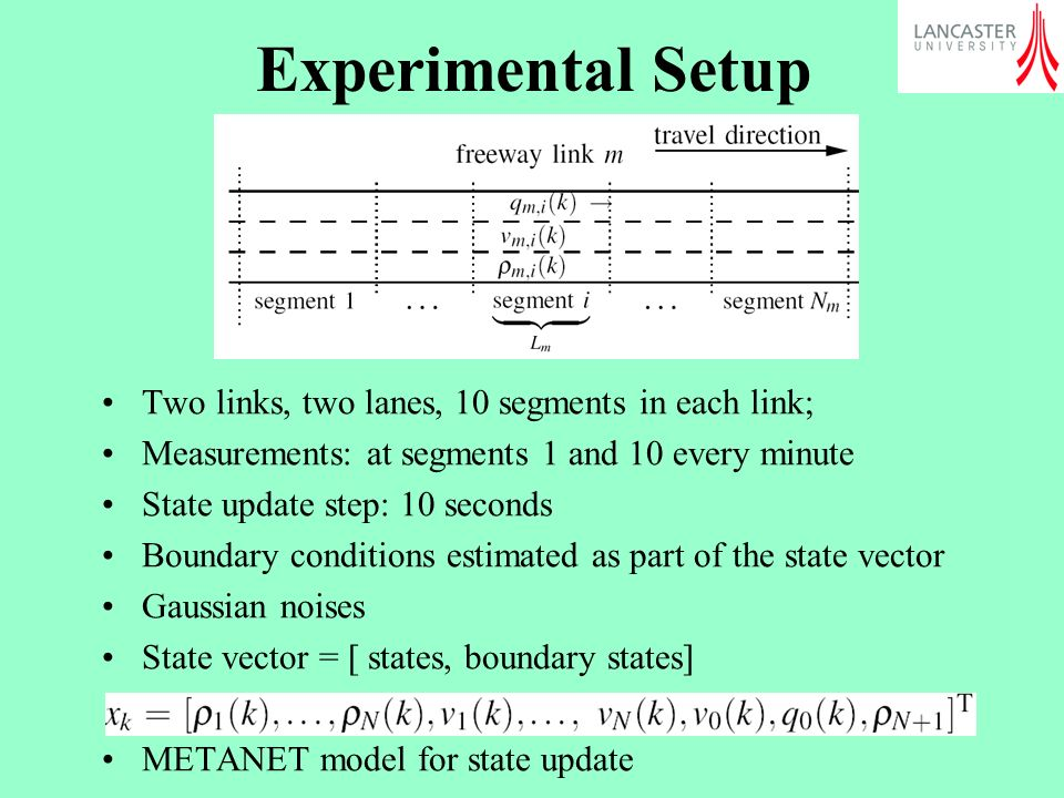 Experimental Setup Two links, two lanes, 10 segments in each link; Measurements: at segments 1 and 10 every minute State update step: 10 seconds Boundary conditions estimated as part of the state vector Gaussian noises State vector = [ states, boundary states] METANET model for state update