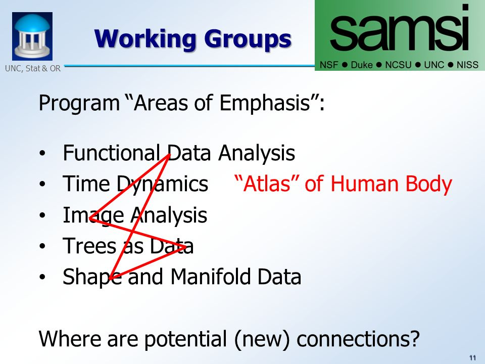 11 UNC, Stat & OR Working Groups Program Areas of Emphasis: Functional Data Analysis Time Dynamics Atlas of Human Body Image Analysis Trees as Data Sh