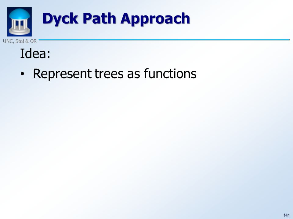 141 UNC, Stat & OR Dyck Path Approach Idea: Represent trees as functions