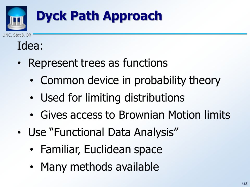 143 UNC, Stat & OR Dyck Path Approach Idea: Represent trees as functions Common device in probability theory Used for limiting distributions Gives acc