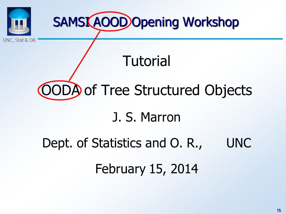 15 UNC, Stat & OR SAMSI AOOD Opening Workshop Tutorial OODA of Tree Structured Objects J. S. Marron Dept. of Statistics and O. R., UNC February 15, 20